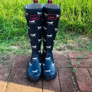Joules French Navy Horse Print Wellies Rainboots 7